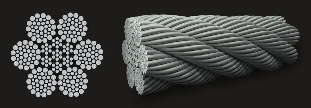 6×36 is the most flexible of our stainless steel wire ropes