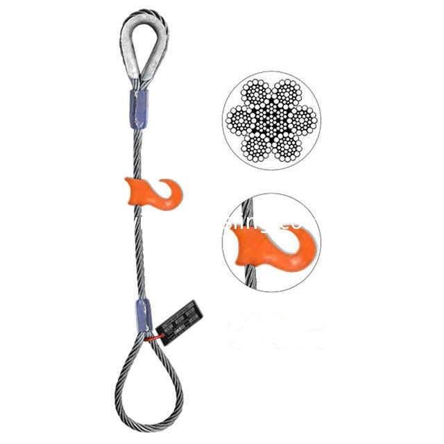 HSI 3//4 Diameter Single-Leg Wire Rope Sling 16 Length Eye-to-Eye Flemish Loop Ends EIPS 6x25 IWRC 5.6 Ton Vertical Rated Capacity