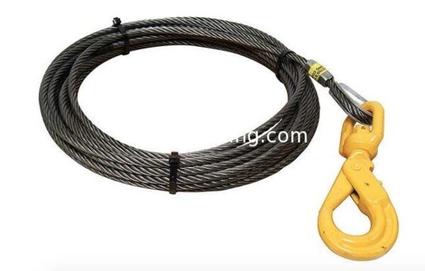 "5/8"" Fiber Core Wire Rope And Sling Winch Cables With Swivel Self Locking Hooks"
