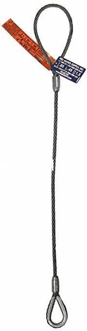 Single Leg Wire Rope Sling 6x25 IWRC Flemish Eye Loop To Heavy Duty Thimble