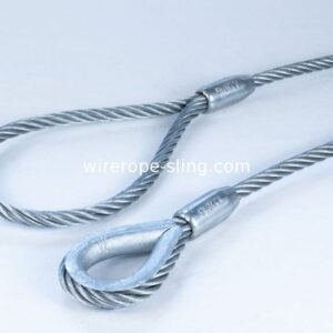 Single Leg Wire Rope Sling 6x25 IWRC Flemish Eye Loop To Heavy Duty Thimble